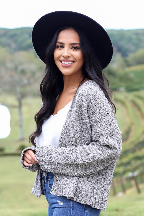 Dress Up Model wearing Heather Grey Plush Knit Cropped Cardigan