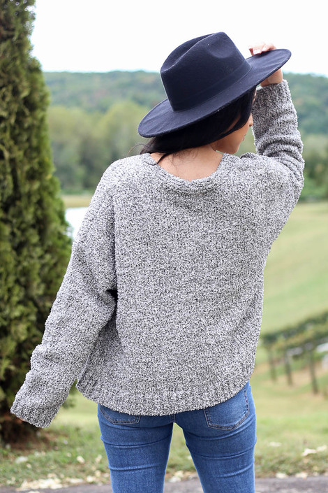 Dress Up Model wearing Heather Grey Plush Knit Cropped Cardigan Back View