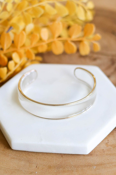Clear - Gold Trimmed Cuff Bracelet Flat Lay