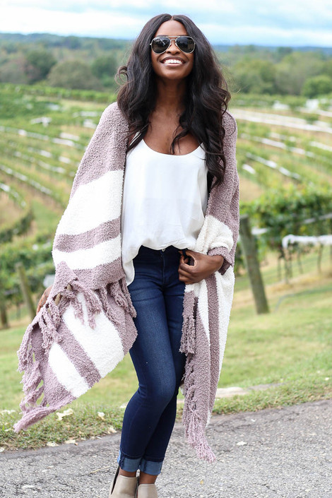 Ainsley Striped Plush Knit Kimono