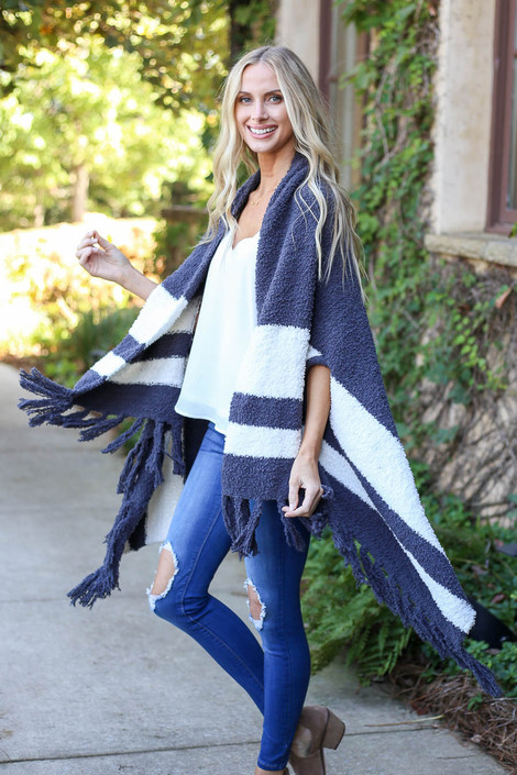 Charcoal - Striped Plush Knit Kimono Side View