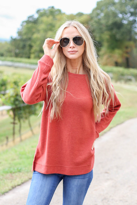 Rust - Split Hem Fleece Pullover from Dress Up