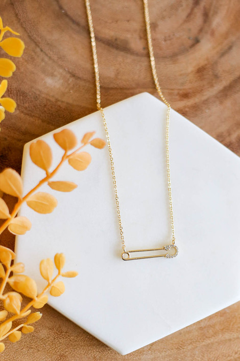Gold - Rhinestone Safety Pin Necklace