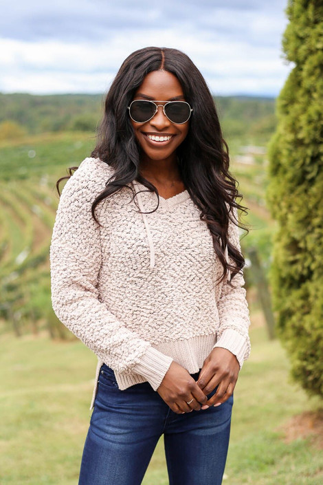 Taupe - Cropped Popcorn Knit Hoodie from Dress Up