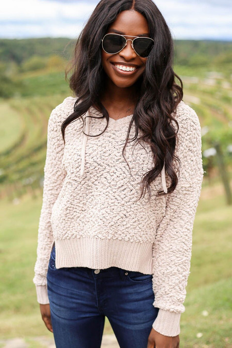 Model wearing Taupe Cropped Popcorn Knit Hoodie from Dress Up- Front View