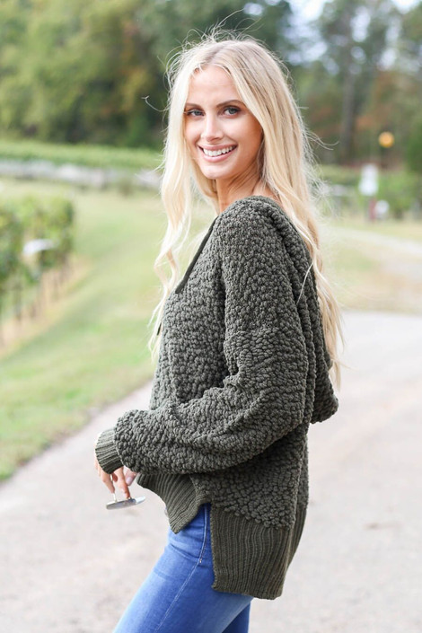Olive - Cropped Popcorn Knit Hoodie from Dress Up