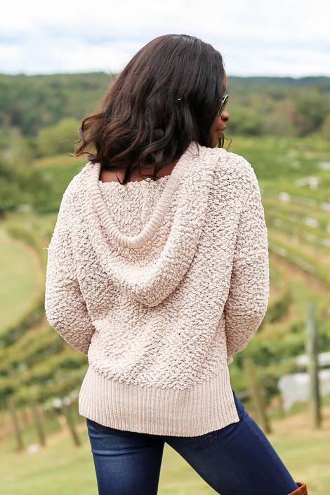 Model wearing Taupe Cropped Popcorn Knit Hoodie from Dress Up- Back View