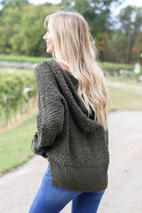 Model wearing Olive Cropped Popcorn Knit Hoodie from Dress Up- Back View