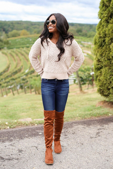 Model wearing Taupe Cropped Popcorn Knit Hoodie from Dress Up Boutique - Full View