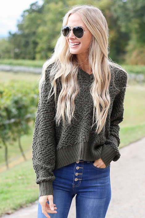 Model wearing Olive Cropped Popcorn Knit Hoodie from Dress Up- Front View