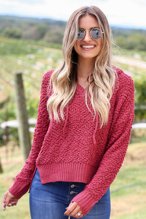Marsala - Cropped Popcorn Knit Hoodie from Dress Up