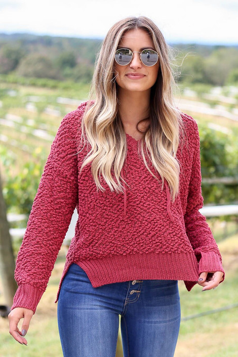 Model wearing Marsala Cropped Popcorn Knit Hoodie from Dress Up- Front View
