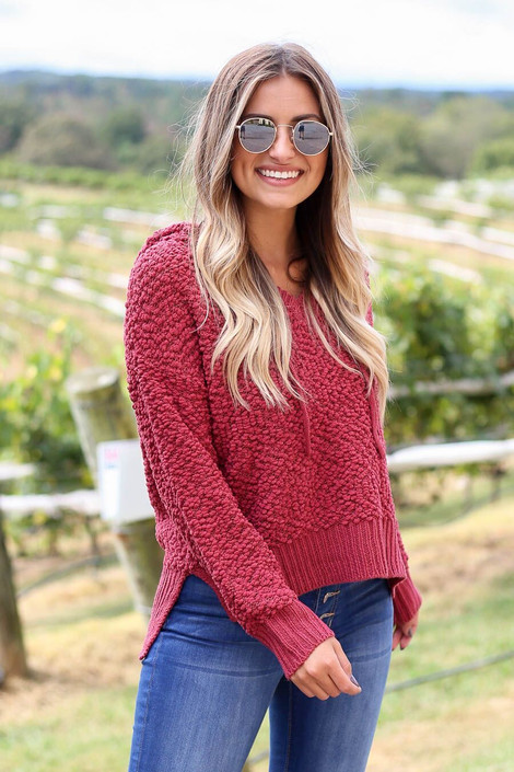 Model wearing Marsala Cropped Popcorn Knit Hoodie from Dress Up- Front Angle View