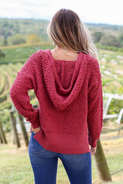 Model wearing Marsala Cropped Popcorn Knit Hoodie from Dress Up- Back View