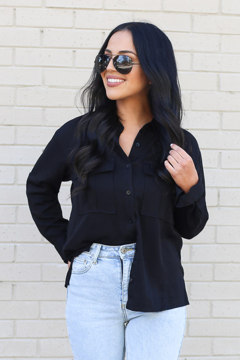 Black - Split Hem Button Up Top Detail View