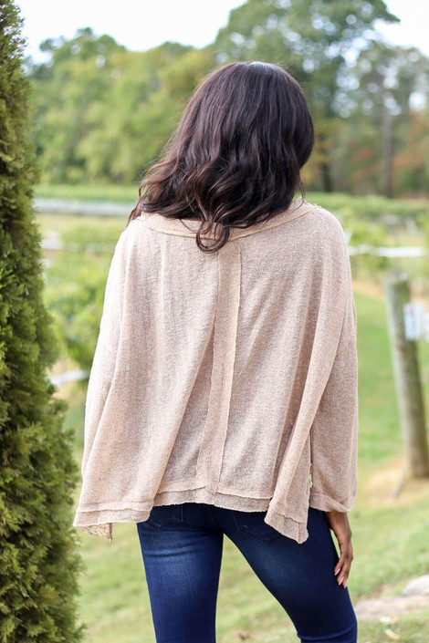 Model wearing Khaki Oversized Brushed Knit Top from Dress Up - Back View