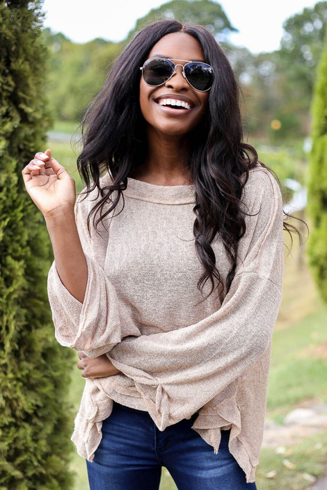 Khaki - Oversized Brushed Knit Top