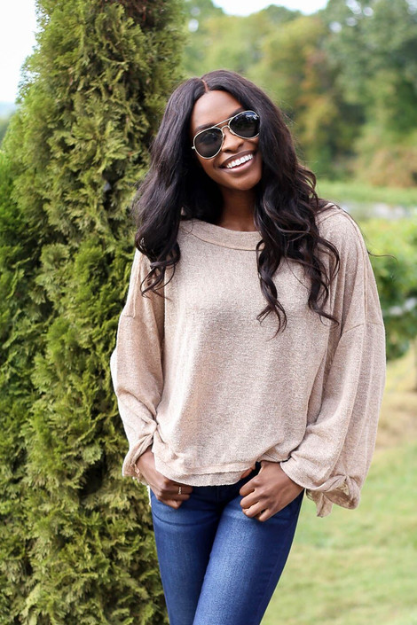 Model wearing Khaki Oversized Brushed Knit Top from Dress Up - Front View