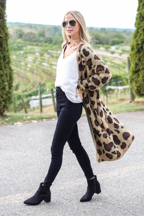 Taupe - Leopard Longline Cardigan from Dress Up Boutique