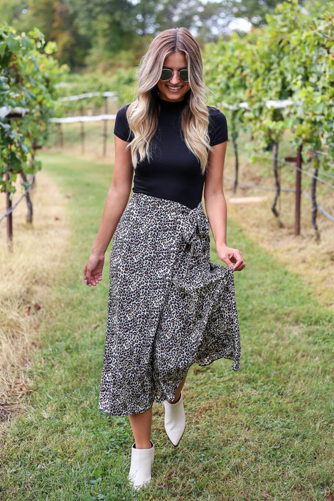 Leopard - Wrap Midi Skirt Front View