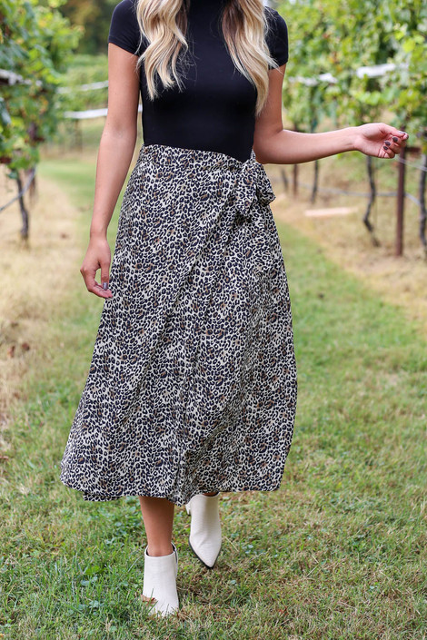 Leopard - Wrap Midi Skirt Detail View
