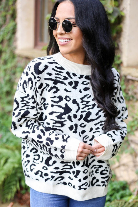 White - Leopard Knit Sweater  from Dress Up Boutique