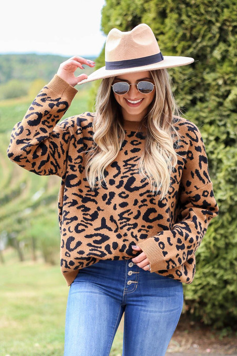 Camel - Leopard Knit Sweater  from Dress Up Boutique