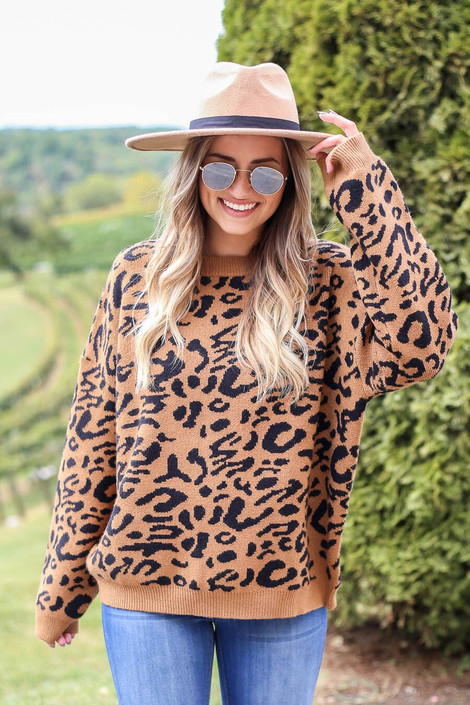 Model wearing Leopard Knit Sweater in camel from Dress Up Boutique - Front View