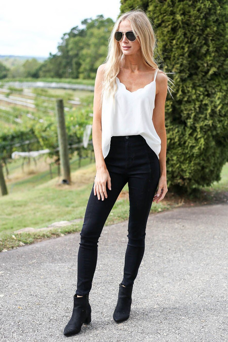 Model wearing  High Rise Black Skinny Jeans from Dress Up - Full View