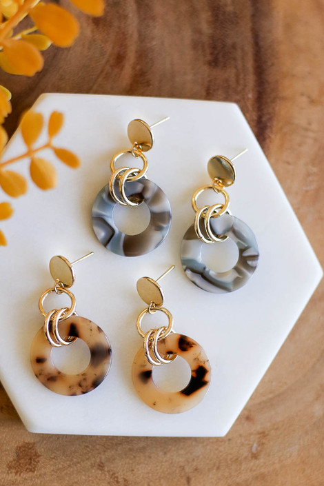 Taupe - and Grey Circular Acrylic Earrings Flat Lay