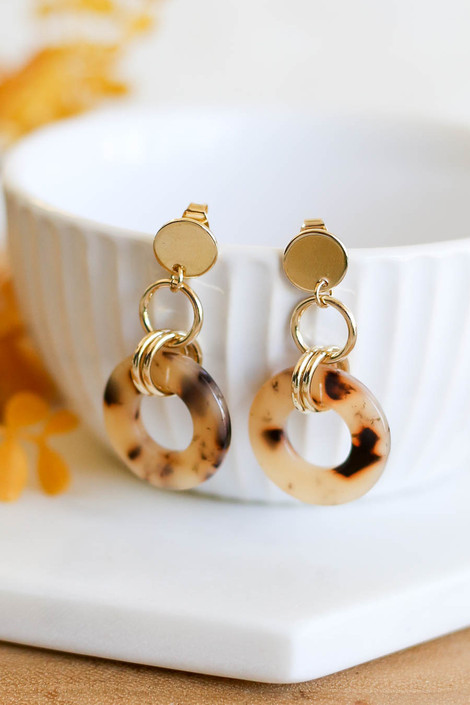 Taupe - Circular Acrylic Earrings Product Photo
