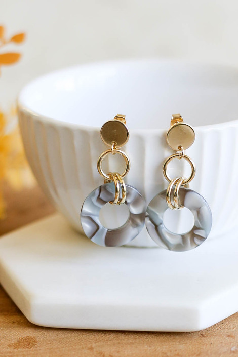 Grey - Circular Acrylic Earrings Product Photo