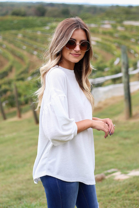 White - Chenille Sweater