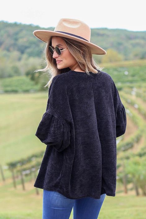 Black - Chenille Sweater Back View