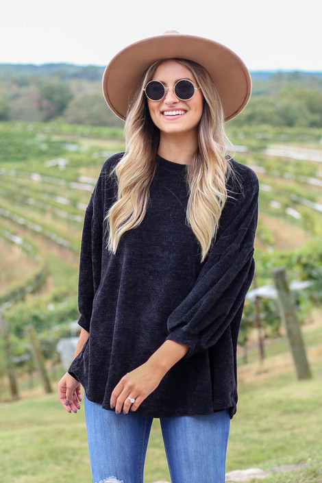 Black - Chenille Sweater