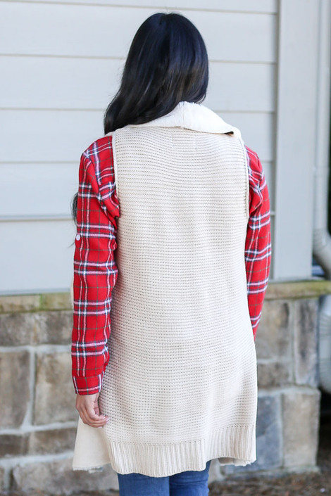 Model wearing the Faux Fur Vest in Ivory Back View