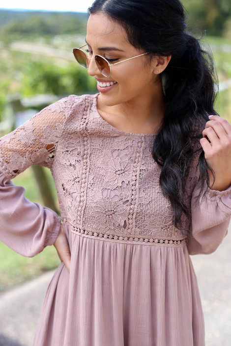 Mocha - Crochet Lace Babydoll Mini Dress Detail View