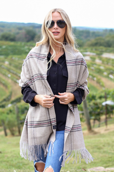Taupe - Plaid Blanket Scarf Unfolded
