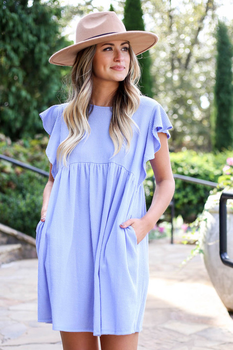 Blue - Ribbed Ruffle Sleeve Ribbed Dress