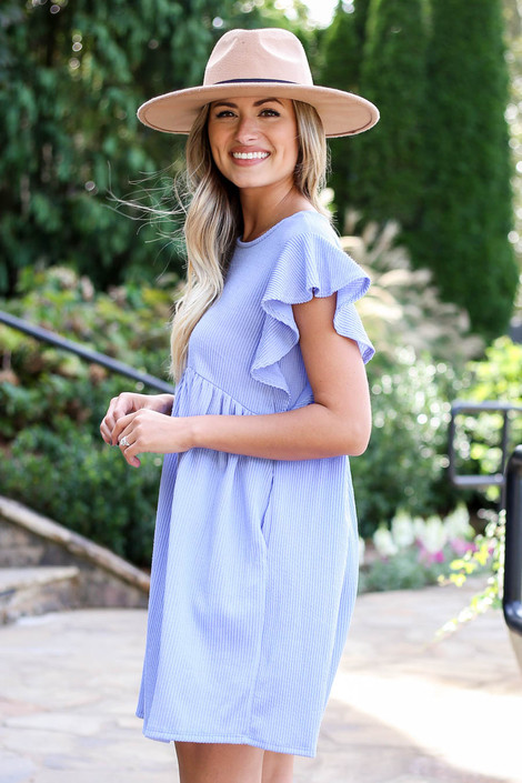Dress Up Model wearing Blue Ribbed Ruffle Sleeve Ribbed Dress Side View