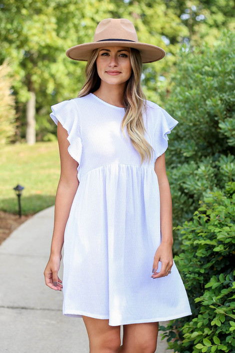 Dress Up Model wearing White Ribbed Ruffle Sleeve Ribbed Dress Front View