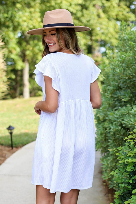 Dress Up Model wearing White Ribbed Ruffle Sleeve Ribbed Dress Back View