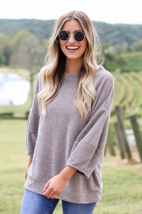 Dress Up Model wearing Taupe Chenille Balloon Sleeve Pullover
