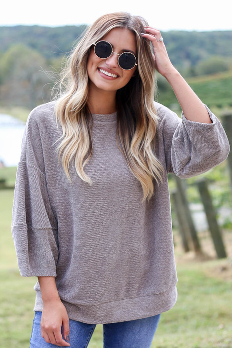 Taupe - Chenille Balloon Sleeve Pullover