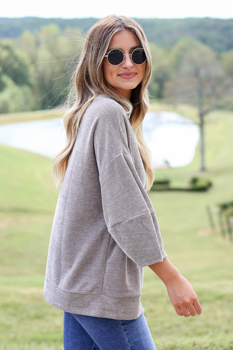 Dress Up Model wearing Taupe Chenille Balloon Sleeve Pullover Side View