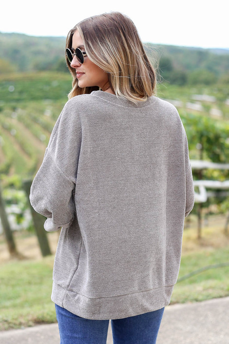 Taupe - Chenille Balloon Sleeve Pullover Back View