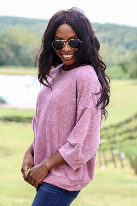 Dress Up Model wearing Mauve Chenille Balloon Sleeve Pullover