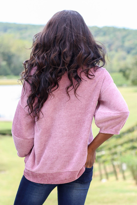 Dress Up Model wearing Mauve Chenille Balloon Sleeve Pullover Back View