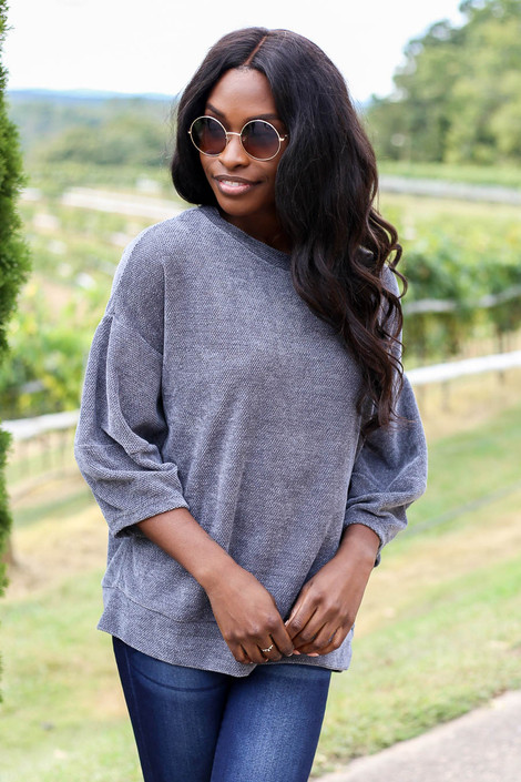 Dress Up Model wearing Grey Chenille Balloon Sleeve Pullover