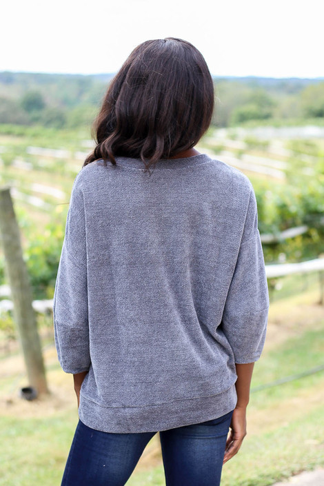 Grey - Chenille Balloon Sleeve Pullover Back View